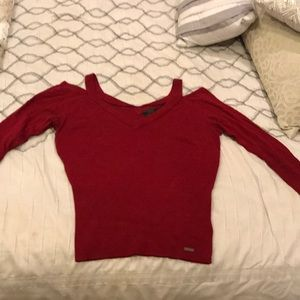 Guess Red Cutout Shoulder Sweater